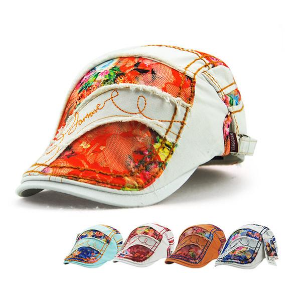 Fashion Womens Lace Cotton Sun Shade Baseball Hats Duckbill Casquette Boina Buckle Visors Golf Driving Hat Newsboy Cap