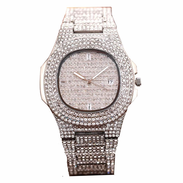 best selling New Full Diamond Watches Waterproof Mens Watches Fashion Quartz Wristwatches Stainless Steel Cool Calendar Men Watch Gift