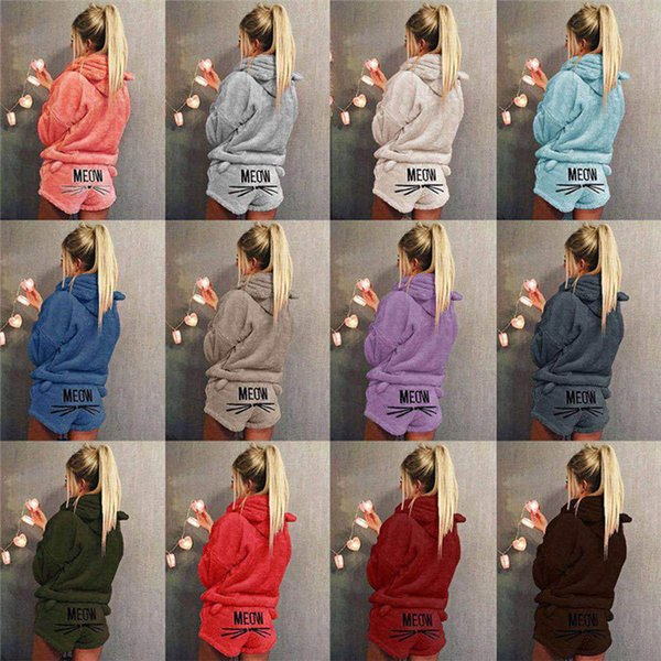 Women Sleepwear Cute Cat Emotion Embroidery Pattern Pajama Sets Female Long Sleeve Hooded Tops Plus Size Coral Velvet Clothes Suit 27 Colors