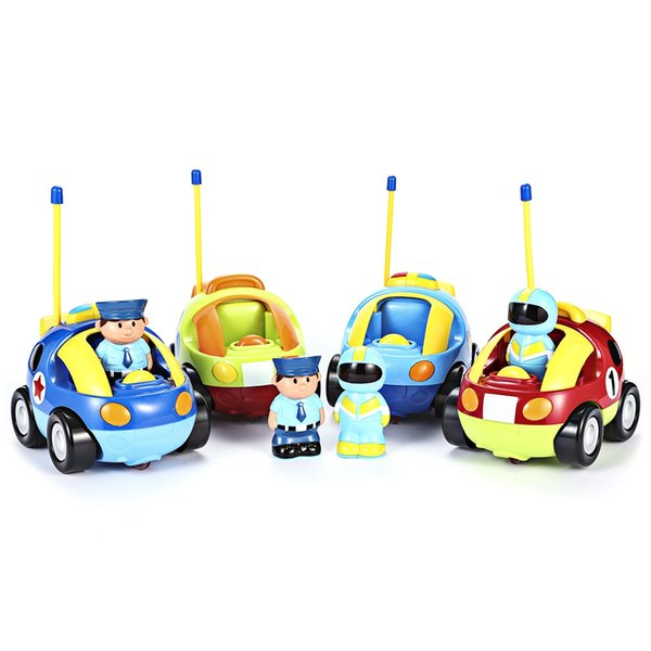 Cartoon Police Racing Car Radio Remote Control Music Electric Toy Kid Children Gift Remote Control RC Car Toy