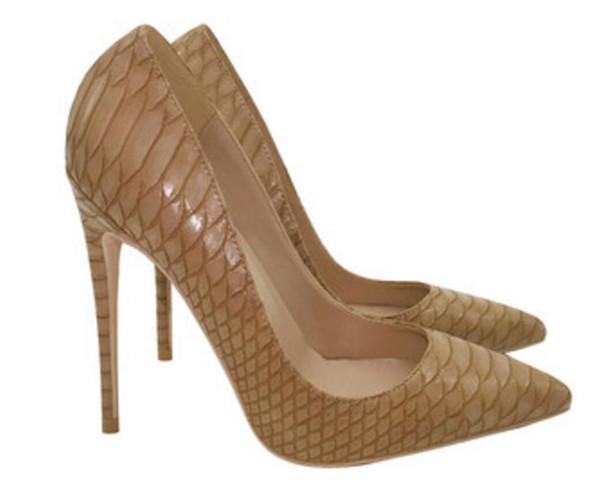 2019 новый стиль Светло-коричневый Дизайнер Red Подошва Женщины Red Bottoms насосы Высокие каблуки носками Кружевные платья плюс размер свадебные туфли 34-45