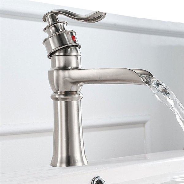 2019 New Design Bathroom Faucets Single Handle Wide Spout Brass Basin Faucets Mixer Tap Deck Mounted Brushed Nickel