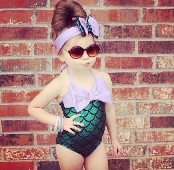top popular 2019 kids swimwear With Hair Bows Headbands Baby Girls Mermaid One-Pieces Suspender Beach wear bathing suits kid girl child bikini Cosplay 2020