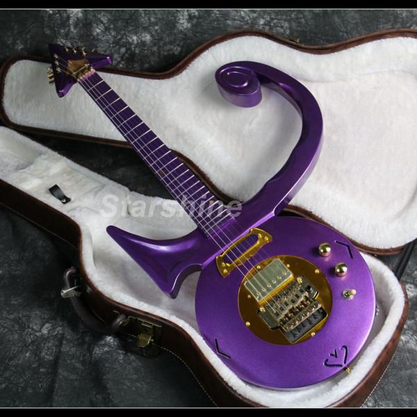 2019 Nova guitarra roxa Príncipe elétrica Noble Ouro Estilo Hardware CNC Feito FR Ponte de corpo sólido