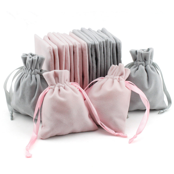 50pcs Personalized Flannel Jewelry Packaging Ribbon Drawstring Chic Velvet Pouch for Wedding Favor Gift Bags