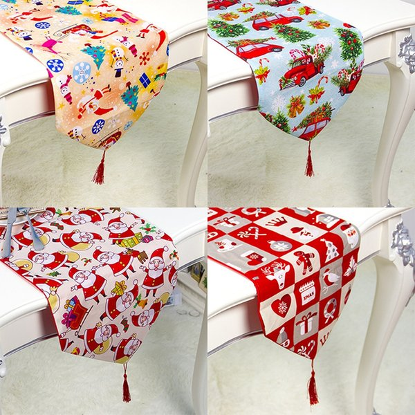 top popular 180*35CM Christmas Tablecloths Fashion Flower Printed Table Cloth Mat Table Flag Dinning Home Xmas Party Decoration TTA2117-1 2021