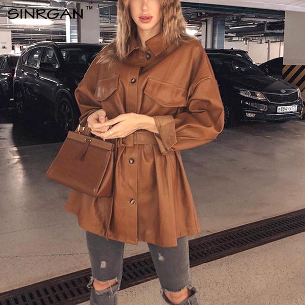 SINRGAN Женщины Браун Мягкая кожаная куртка платье средней длины Кожа Тонкий Поддельный PU пальто Элегантные Tie пояса талии Карманы