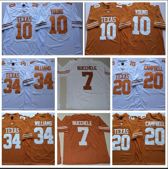 Mens Texas Texas Longhorns Ricky Williams Costurado NameNumber Americano Futebol Americano Jersey Tamanho S-3XL