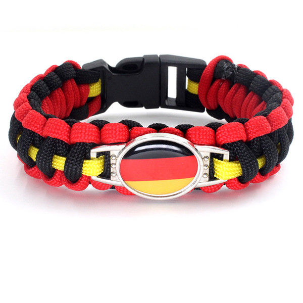 2020 Football World Cup Germany National Flag Survival Paracord Bangle Bracelets Gifts for Football Fans