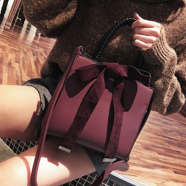 Moda Bayan Büyük torba 2019 Yeni Kadın Tasarımcı Çanta Bow Buzlu Omuz çantası Basit Yüksek kaliteli Mat PU deri Tote