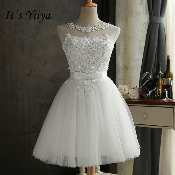 Es YiiYa New White Straplesss Una línea de encaje con cordones Vestidos de dama de honor Elegante encaje Delgado Sin mangas Vestido corto