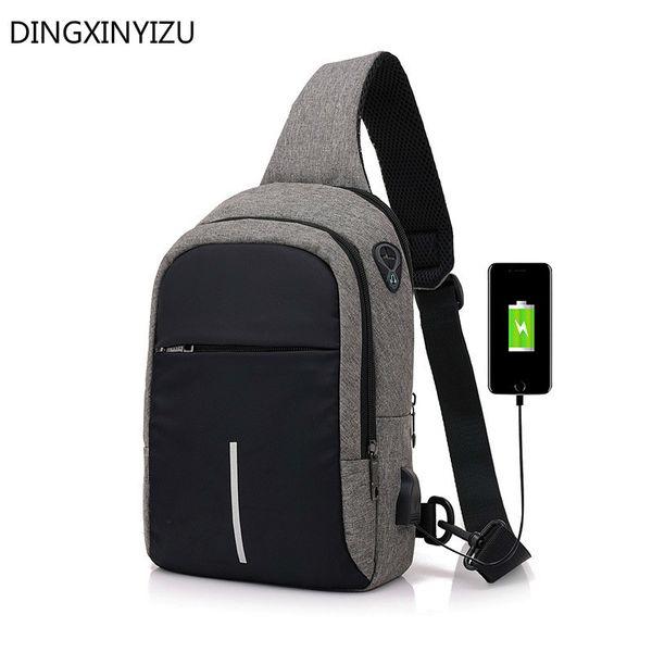 Men Chest Bags USB Charging Waterproof Oxford Crossbody Small Sling Single Shoulder Bags Travel Pack Male Bolsa Feminina Handbag