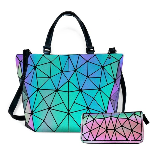 Women's Geometric Handbags Holographic Luminous Purses with Zipper Closure