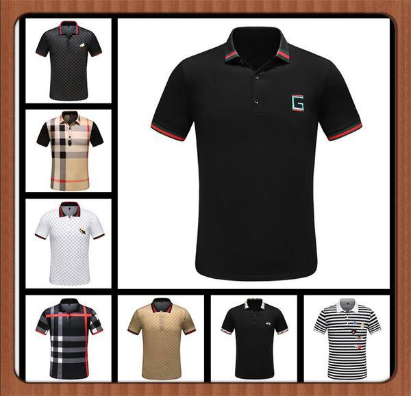 HOT summer Casual Casual Brand Polos Uomo Puro lettera ricamo POLO camicie cotone manica corta Polo Polo maschile camicia