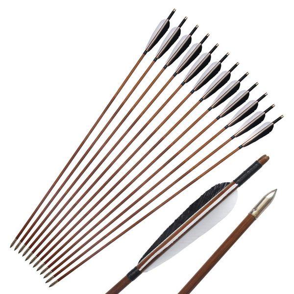 12pcs Linkboy Tiro con l'arco Bamboo Arrow 5 '' Turkey Vanes Recurve Compound Traditional Bow Caccia e tiro