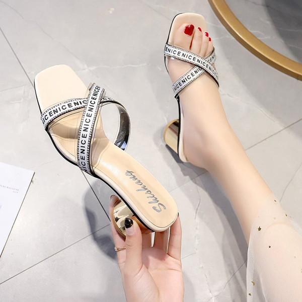 Sommer Frauen Sandalen High Heels Hausschuhe 2019 Neue Quer Sexy Mode Freizeitschuhe Transparent Patchwork Schuhe