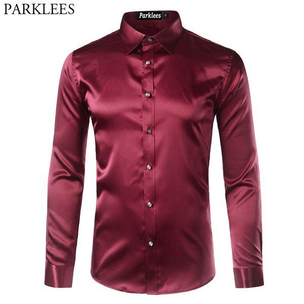 Fashion Casual Mens Silk Satin Dress Shirts 2017 Emulation Silk Slim Fit Shirt Men Chemise Homme Business Wedding Male Shirts