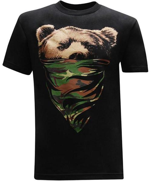 Califórnia República Camo Bandana Urso T-Shirt dos homens T-Shirt da Luva do Verão Dos Homens Tee Tops Roupas Clássico Estilo Simples