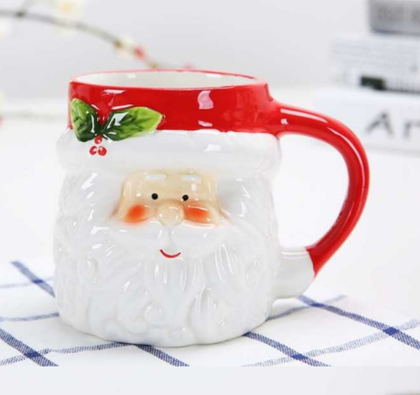 Christmas ceramic mug Lovely three-dimensional animal milk coffee cup Creative cartoon couple on a glass of water