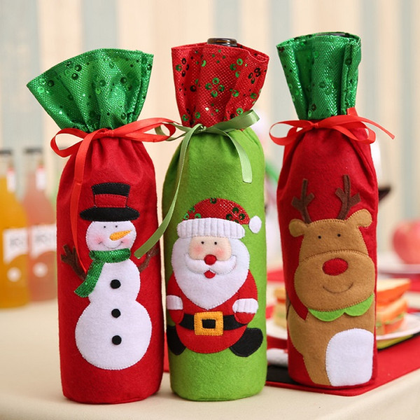 top popular Christmas stockings 32*13cm Santa Claus Wine Bottle Cover Bags Christmas Decoration Decor Christmas Table bottle bag Party Supplies 2019