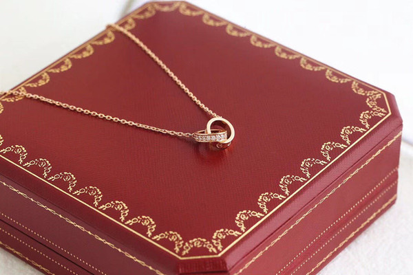 best selling love necklace jewelry men women double ring full cz two rows diamond necklace octagonal screw cap love necklace couple gift