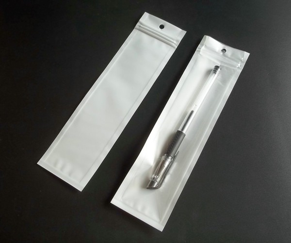 100 stücke 5,5x20,5 cm weiß klar reißverschluss kunststoff Perle Einzelhandel Verpackungsbeutel, poly PP beutel Für Stylus Pen mit fall loch paket taschen