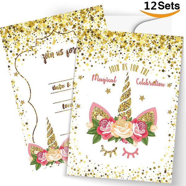 Compre Unicornio Suministros Para Fiestas Tarjetas De Felicitación Navideñas únase A Nosotros Para La Celebración Mágica Tarjetas De Invitación De