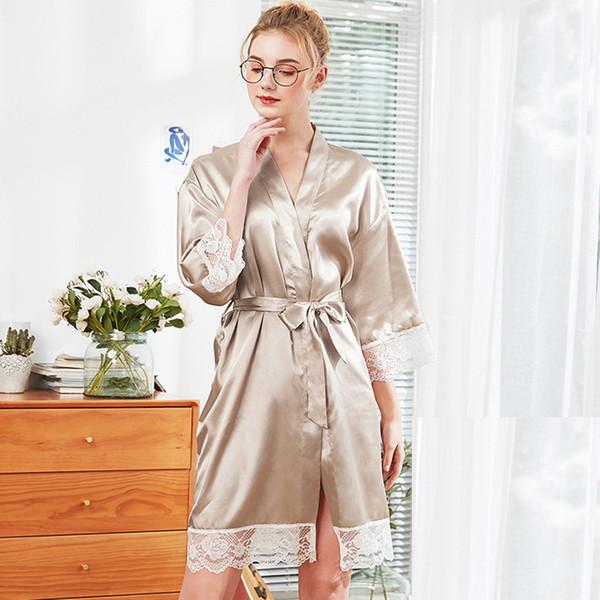 Kadın Ipek Kimono Bornoz Bornoz pijama szlafrok dantel Gelinlik Pembe Beyaz Robe Seksi Elbiseler Saten Bayanlar Sabahlıklar