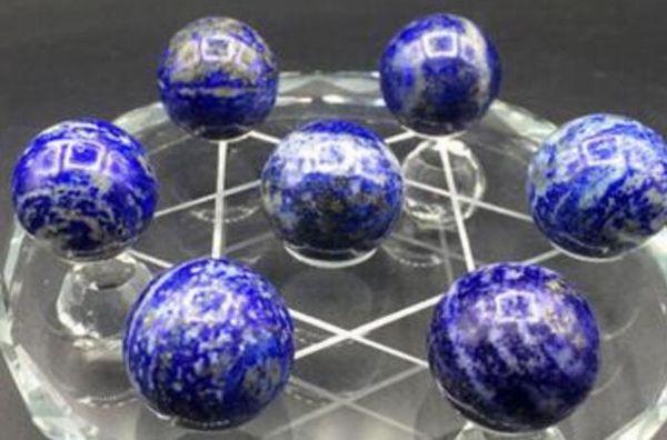 Crystal 7pcs NATURAL blue lapis lazuli CRYSTAL SPHERE BALL Healing + stand 20mm