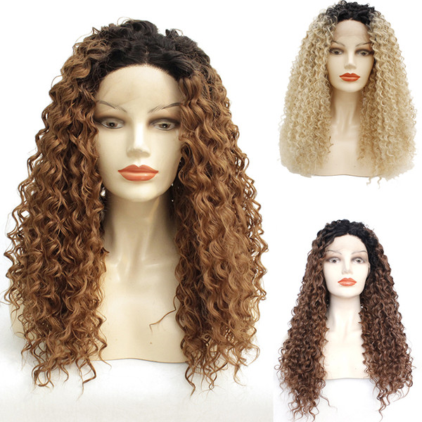 black to brown/blonde 1b/6#/613 afro kinky curly 150 density cosplay part wigs glueless synthetic lace front wig for black women