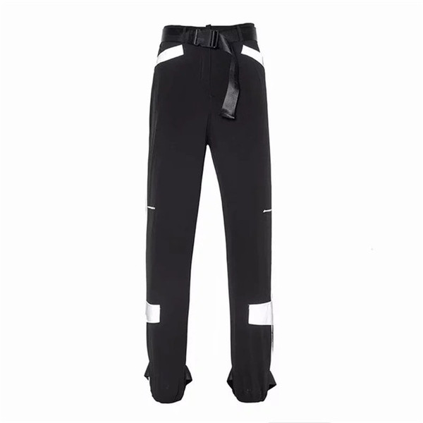 Women Reflective Pants Autumn Fashion High Waist Cargo Pants With Belt Loose Pencil Pants Womens Causal Clothing