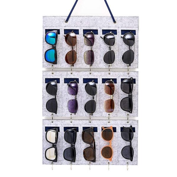 15 Сетки Войлок Висячие сумка для хранения солнцезащитных очков Портативный бытовой Jewelry хранения висит сумка для Стен Организатора Сумки