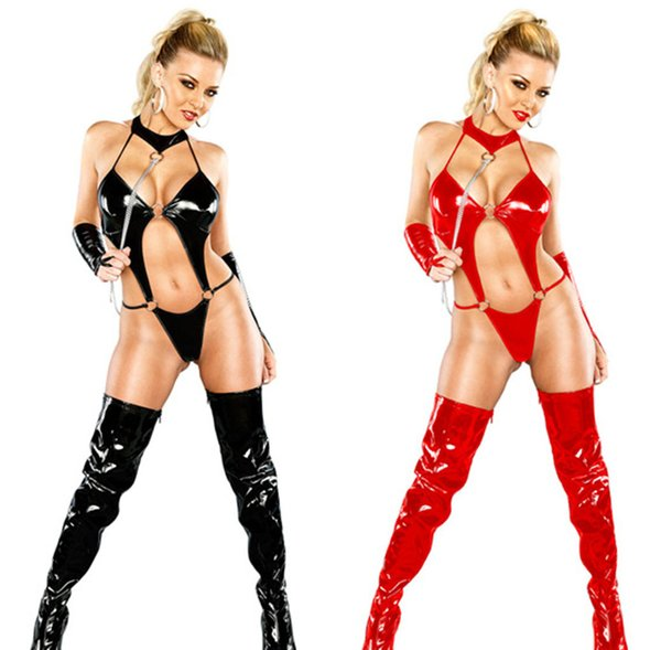 O envio gratuito de Lady Sexy PVC oco Out Faux couro macacão desgaste Latex Catsuit Wetlook Jumpsuit Erotic Lingerie PU Bodysuit Clube