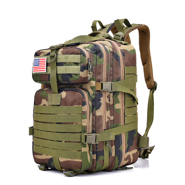 FK9252 40L 900D Military Outdoor Tactical Backpack with Hook-and-loop Fastener CP Camouflage