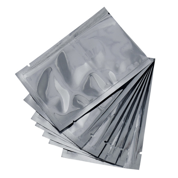 5 Size Heat Seal Open Top Silver Mylar Vacuum Sealable Packing Pouch Dried Food Snacks Storage Aluminum Foil Package Candy Bags 300Pcs/lot