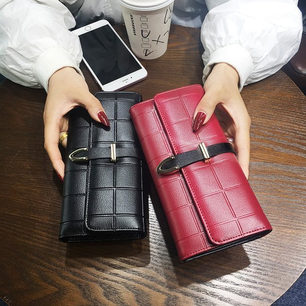 Luxury Women Wallet Hasp Coin Purse long embossed square Phone Bag Two Fold Purse Card Holder Female Wallet for girls ladies