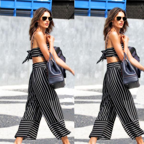 2018 Hot Style Wide Leg Loose Pantalones de mujer con estilo a rayas blancas y negras Pantalones suaves ocasionales Pantalones retro para mujer sexy