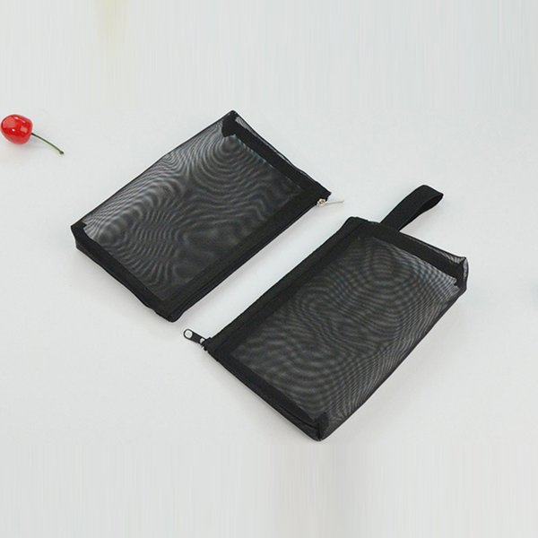 Mesh Black Travel Cosmetic Bag Women Zipper Make Up Transparent Makeup Case Organizer Storage Pouch Breathable Toiletry