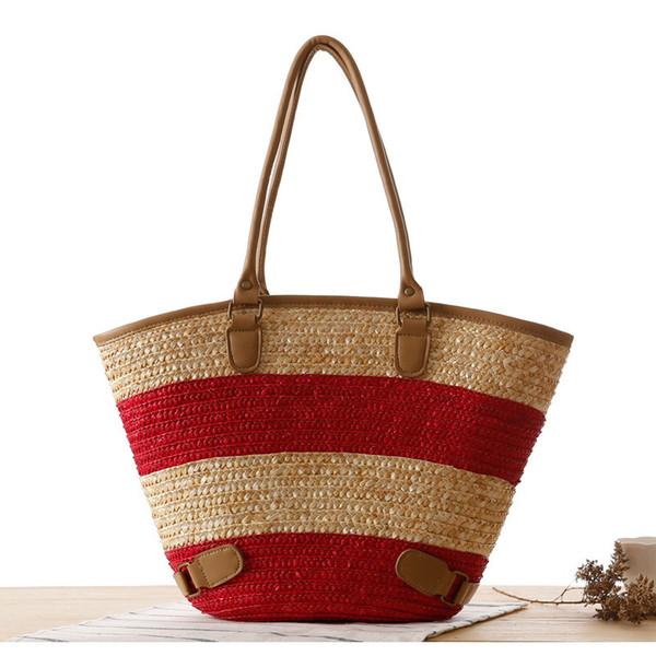 2019 New Female Panelled Straw Shoulder Bag Girls Summer Seaside Beach Weave Bohemian Shoulder Bag Ladies Fashion Flap Handbag