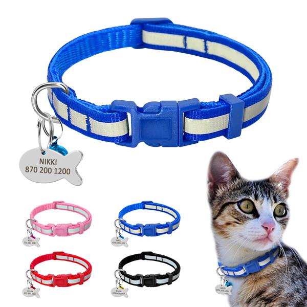 12PCS Pet Cat Collar Breakaway Safety Reflective Kitty Dog Collar Bell Wholesale