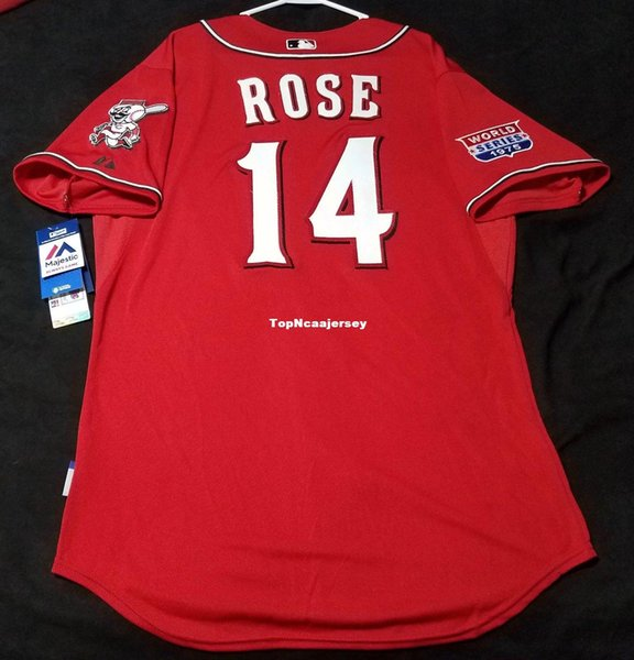 Cheap #14 LOS ROJOS PETE ROSE COOL BASE Jersey Red Mens Stitched Wholesale SIZE XS-6XL baseball jerseys