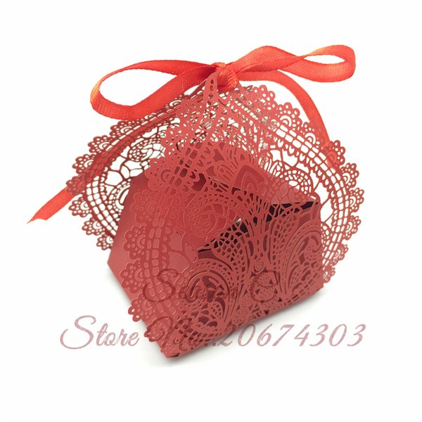 50pcs/lot New Laser Cut Wedding Lace Flower Candy Boxes Chocolate Box Wedding Gift Boxes Baby Shower Birthday Party Decoration Free Shipping