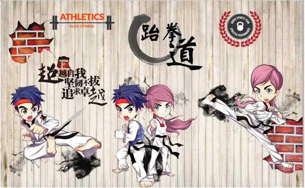 Foto feita sob encomenda do papel de parede 3d Papel de parede nostálgico retro da parede do fundo de taekwondo dos desenhos animados para as paredes 3 d