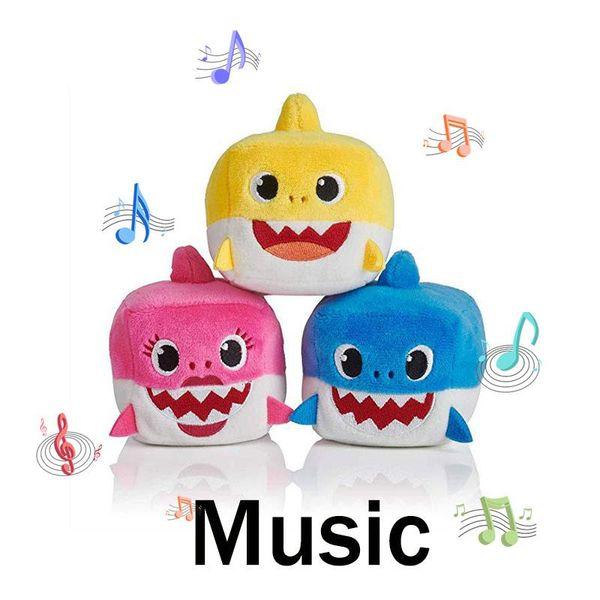 3 Color 3.15 Inch Baby Shark With Music Cute Stuffed Animal Plush 2019 New Shark Toys Dolls Singing MMA1392 100pcs