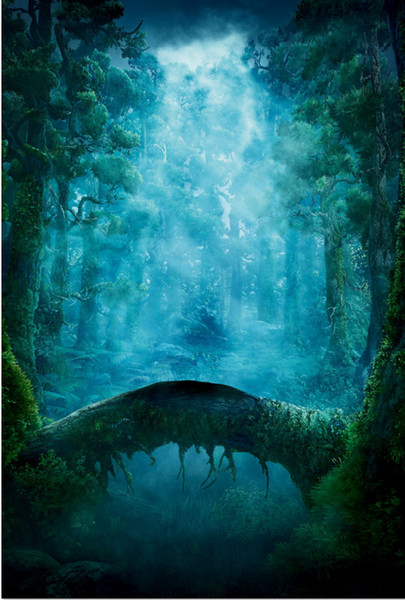 5x7FT Moonlight Fairy Forest Brave Tree Root Bridge River Custom Photo Studio Backgrounds Backdrops Vinyl 150cm x 220cm