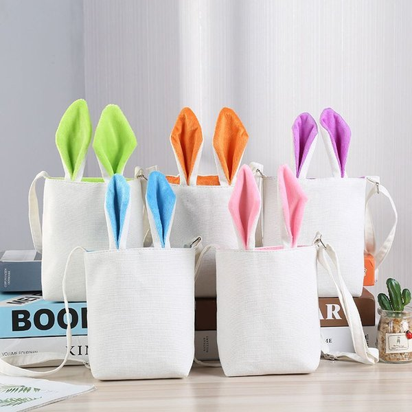 Easter Bunny ear Baskets New arrival packing handbags Portable Party Children Canvas Toys Eggs storage Bag Easter Gift for kids