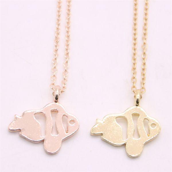 Child interest pendant necklace Hollow out clownfish pendant necklace designed for women