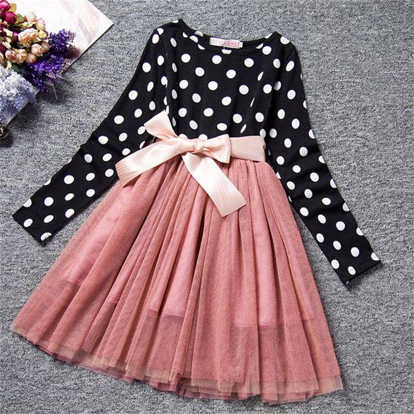Winter Girls Dress Long Sleeve Polka Dot Princess Girls Costume 2019Casual Wear School Kids Girl Party Tutu Dresses xg168
