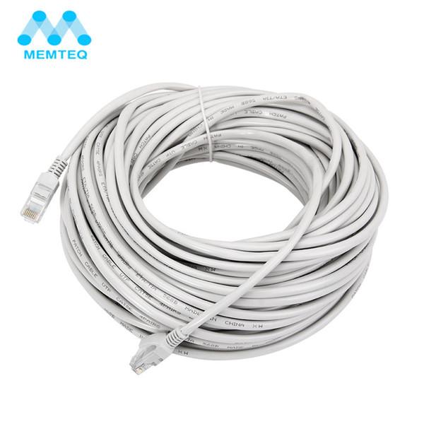 MEMTEQ Ethernet Cable 100FT 30m Cat 5e Ethernet Cable RJ45 Cat5e Network LAN Internet Patch Lead White for PC Router Laptop