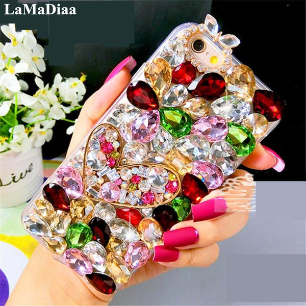wholesale 3D Bling Crystal Soft Back Cover For iPhone X XS MAX XR 5 5C 6 7 8 Plus Rhinestones Top Quality Phone Cases